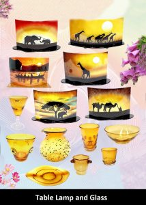 table lamps and glassware